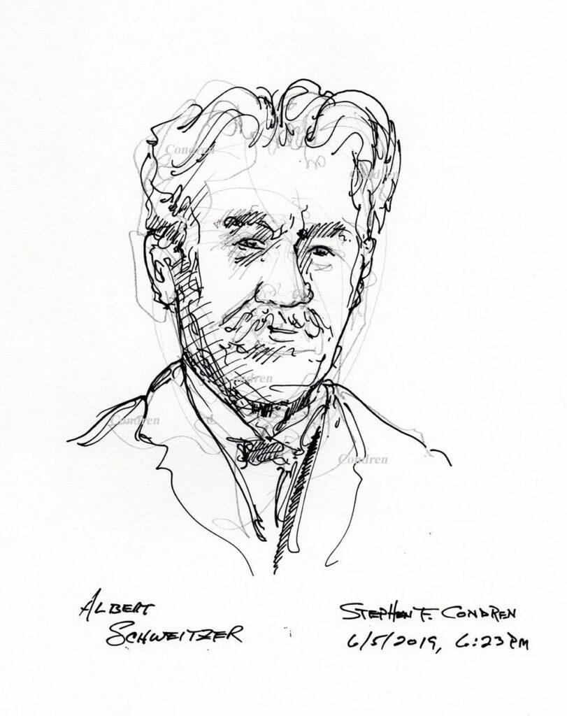 Pen & ink drawing of Theologian Albert Schweitzer, by artist Stephen F. Condren, with prints and scans.