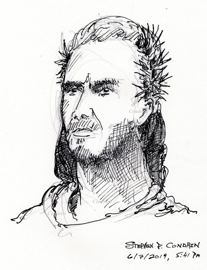 Pen & ink drawing of Jesus Christ wearing a stephanos, or crown of thorns, by artist Stephen F. Condren, with prints and scans.