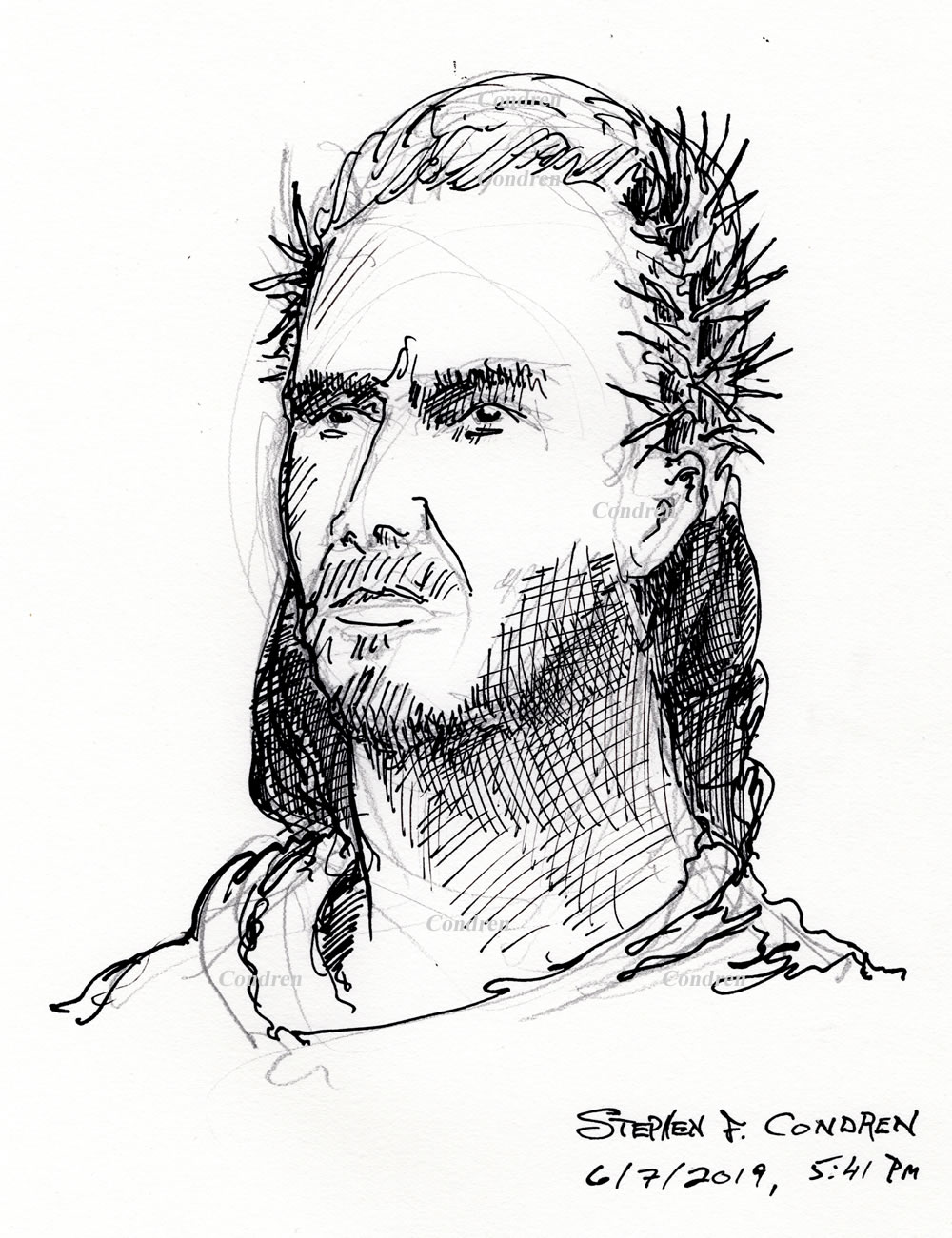 Pen & ink drawing of Jesus Christ wearing a stephanos, or crown of thorns, by artist Stephen F. Condren.