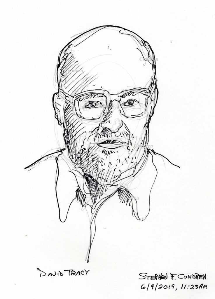 Pen & ink drawing of Father David Tracy by artist Stephen F. Condren.