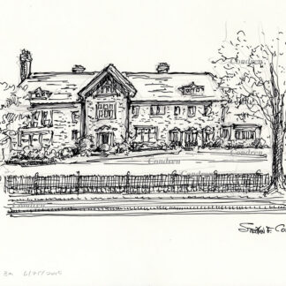 Cheney mansion #503Z, pen & ink drawing with pencil, by artist Stephen F. Condren. Prints and scans.