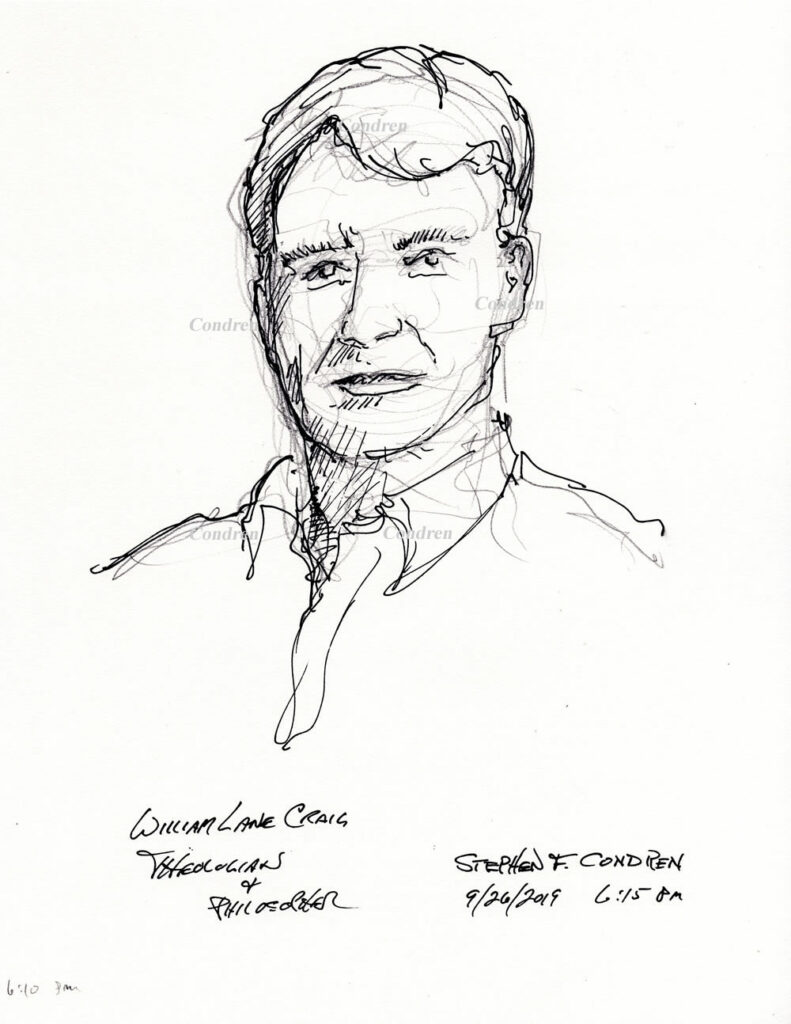 Pen &ink drawing of Theologian William Lane Craig by artist Stephen F. Condren.