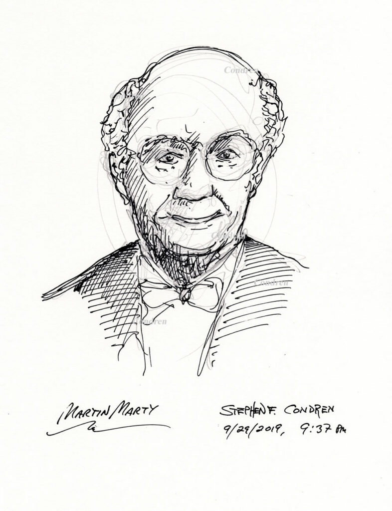 Pen & ink drawing of Theologian Martin Marty by artist Stephen F. Condren.