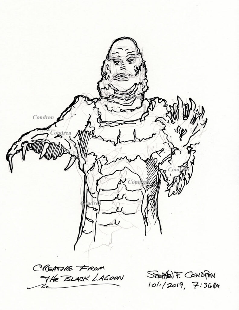 Pen & ink drawing of Creature from the Black Lagoon by artist Stephen F. Condren, with prints and scans.