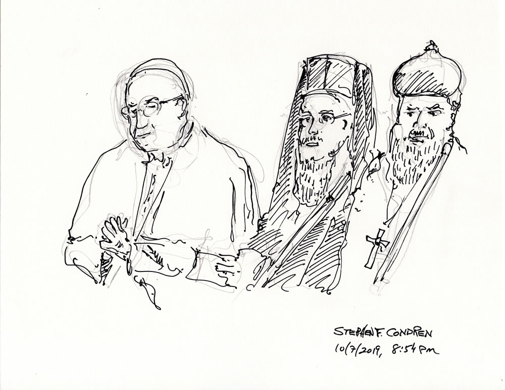 Pope Francis #436Z pen & ink drawing by artist Stephen F. Condren.