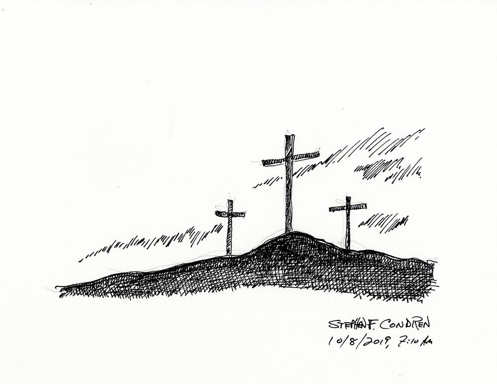 Pen & ink #468Z, pen & ink drawing with pencil, by artist Stephen F. Condren.