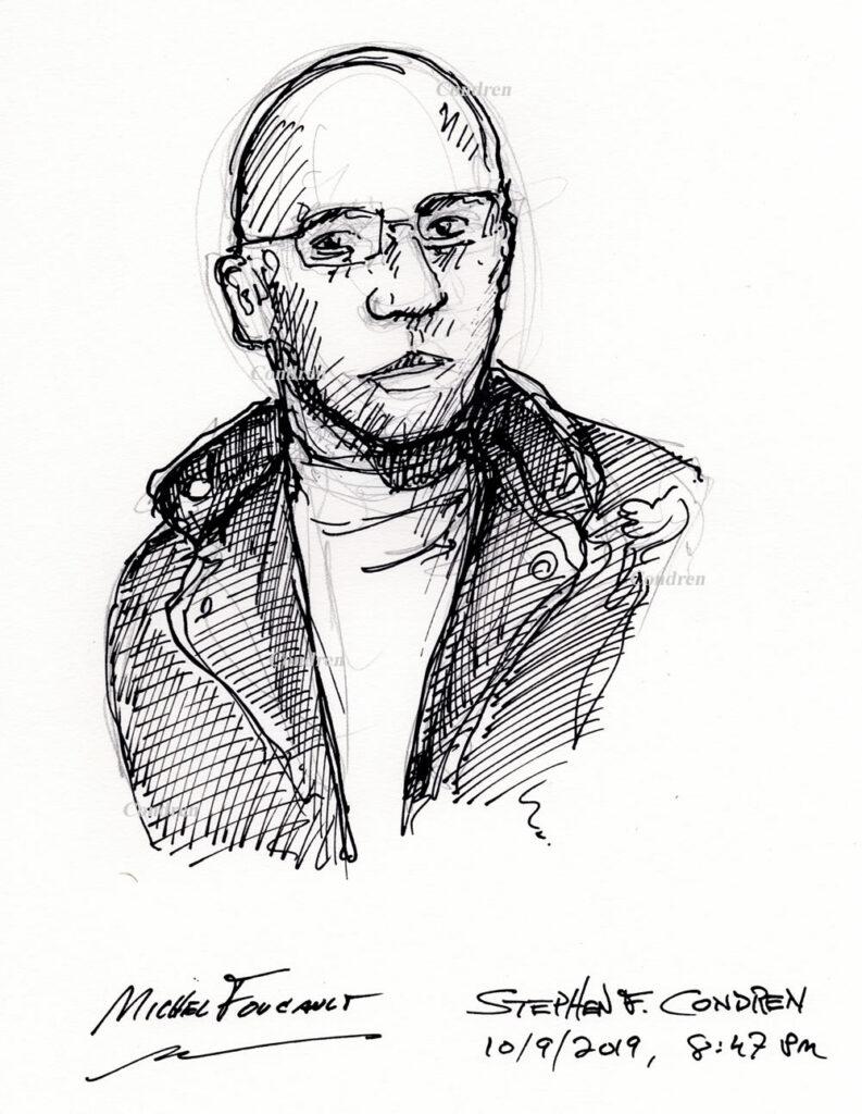 Pen & ink drawing of Michel Foucault by artist Stephen F. Condren.