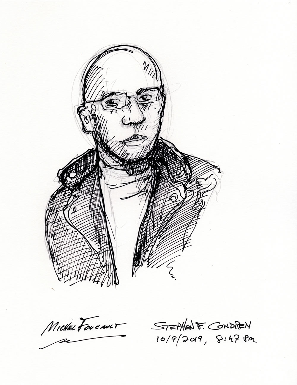 Michel Foucault #440Z, Post Structuralist Philosopher, with pen & ink drawing by artist Stephen F. Condren.