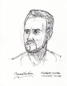 Pen & ink drawing of Bass-baritone opera singer Christian Van Horn, by artist Stephen F. Condren.
