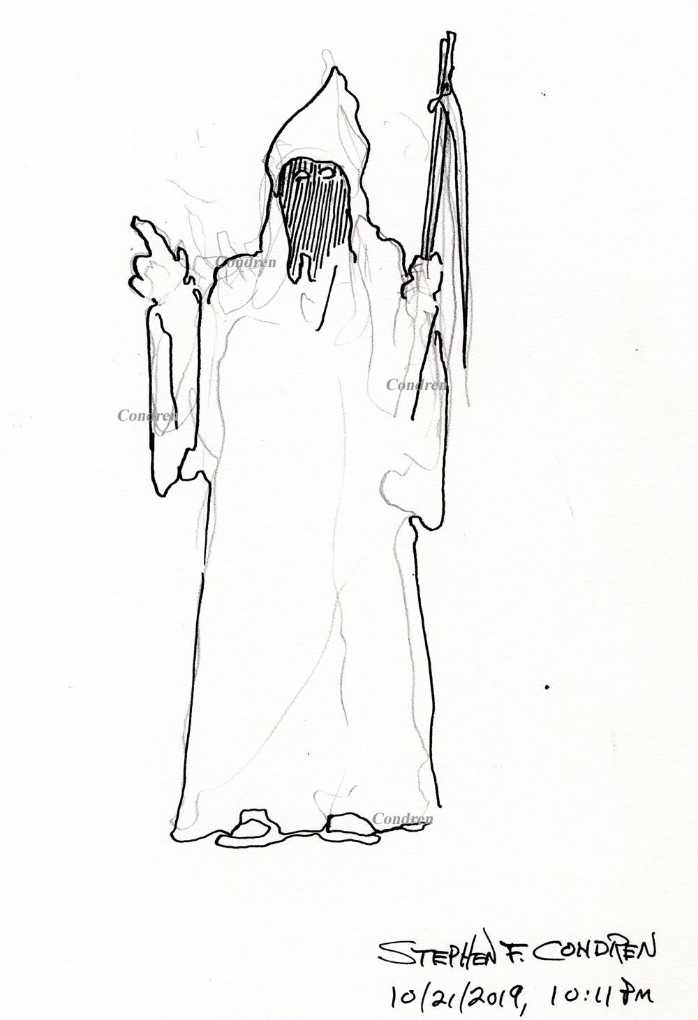 Pen & ink drawing of the Grim Reaper by artist Stephen F. Condren.