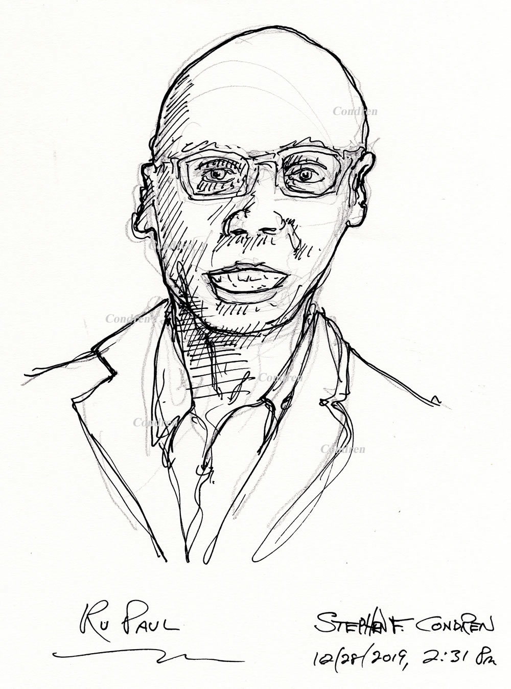 RuPaul pen & ink drawing by artist Stephen F. Condren, with gay LGBTQ approved prints, and scans.