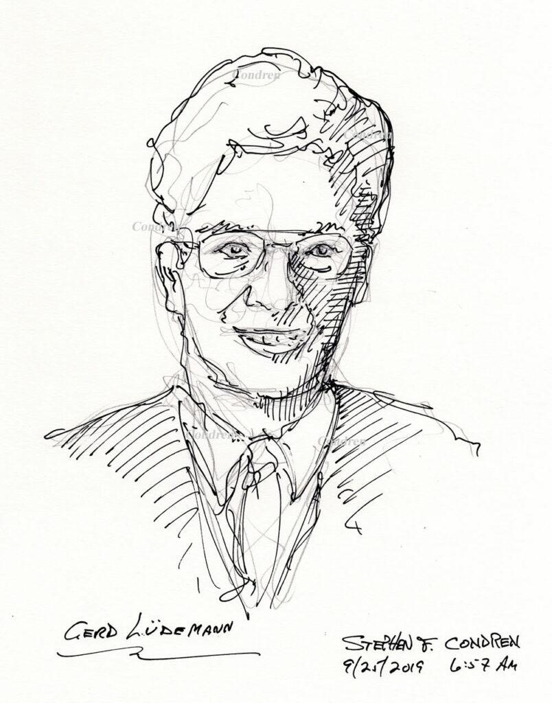 Pen & ink drawing of New Testament Theologian Gerd Ludemann by artist Stephen F. Condren.