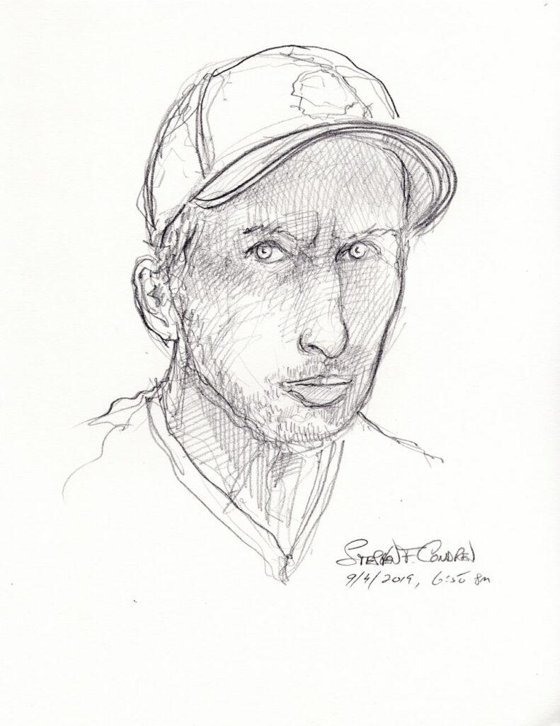 Pencil self-portrait of artist Stephen F. Condren.