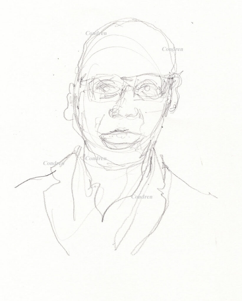 RuPaul pencil drawing by artist Stephen F. Condren.