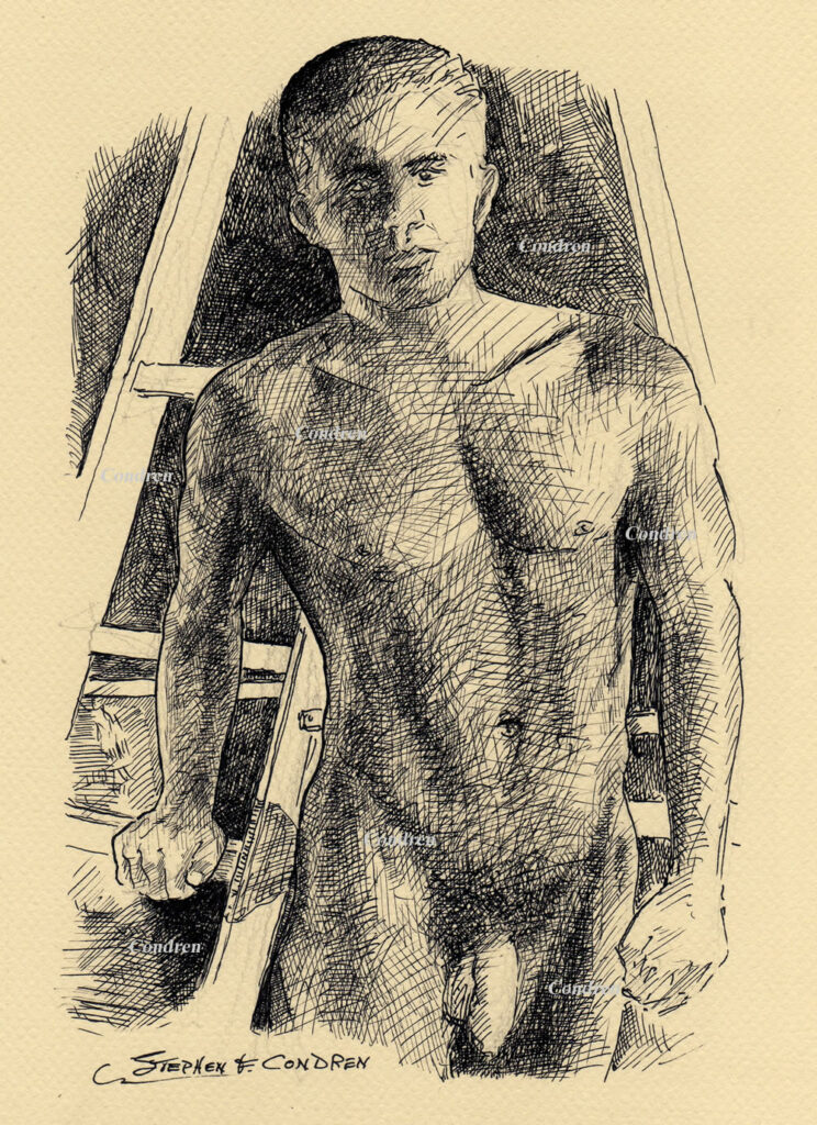 Pen & ink drawing of a naked young man standing by a ladder looking at you, by artist Stephen F. Condren.