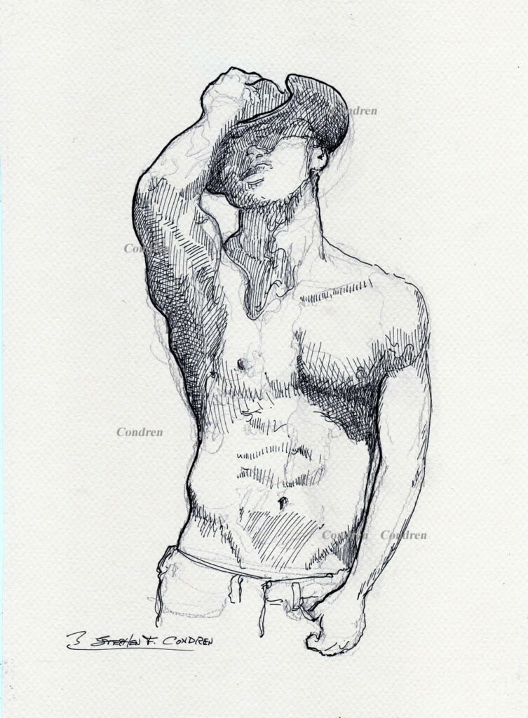 Pen & ink drawing of a shirtless cowboy.