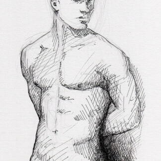Hot nude male #2340A pen & ink drawing by artist Stephen F. Condren, with LGBTQ endorsed gay prints.