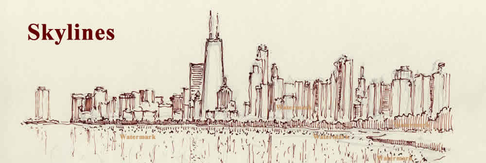 Chicago skyline #869A, pen & ink drawing by artist Stephen F. Condren.