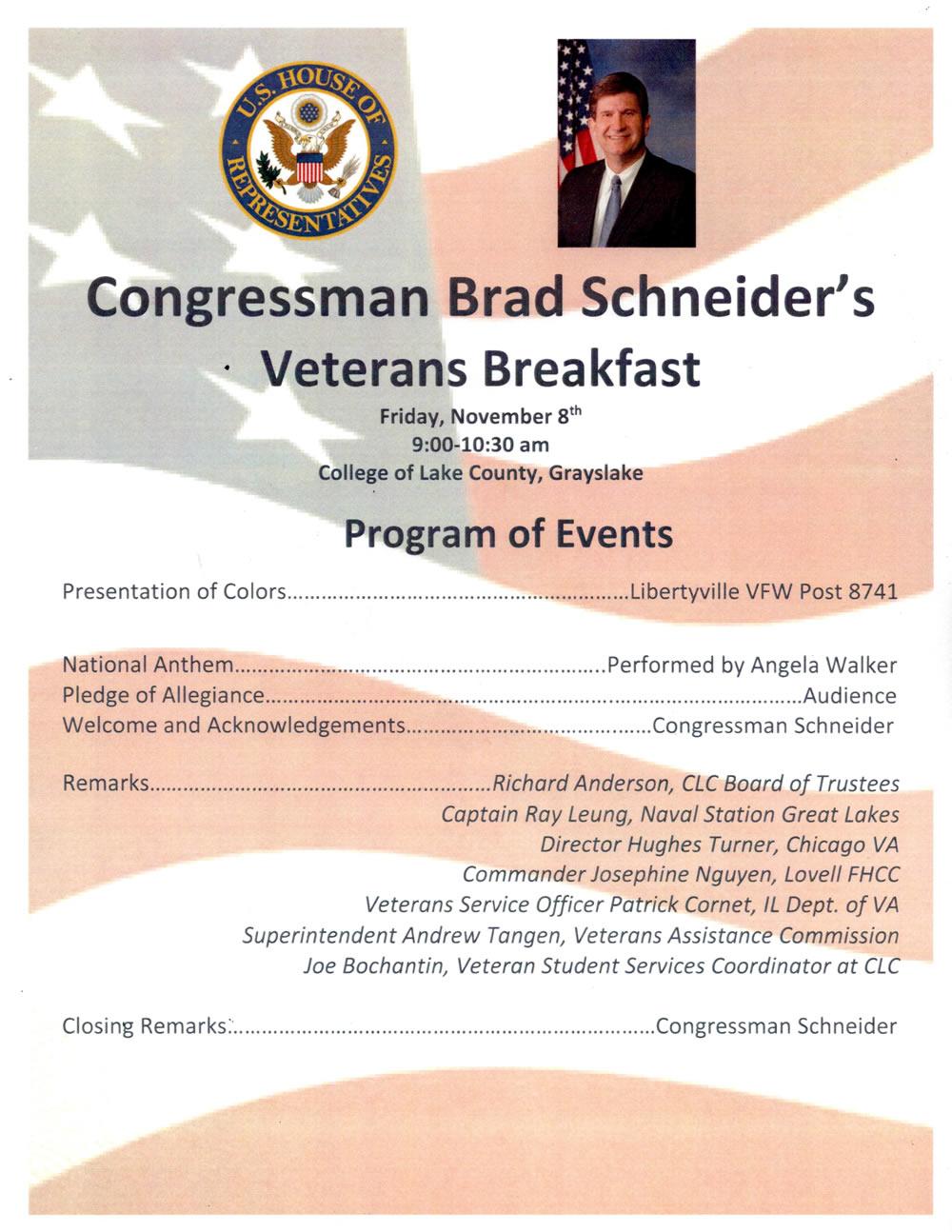 Congressman Brad Schneider's Veterans Breakfast #600Z or patriot breakfast, the image of the program of events by artist Stephen F. Condren.