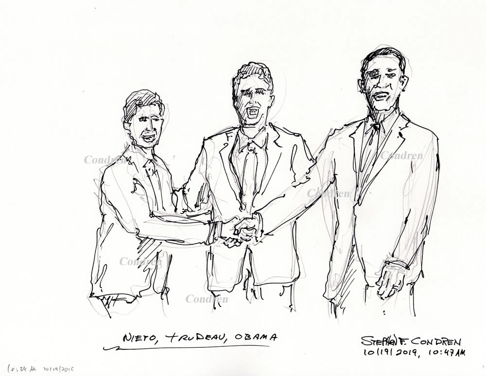 Pen & ink drawing of Presidents Nieto, Trudeau, and Barack Obama shaking hands, by artist Stephen F. Condren.