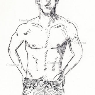 Hot shirtless male #358a pen & ink figure drawing by artist Stephen F. Condren, with LGBTQ endorsed gay prints.