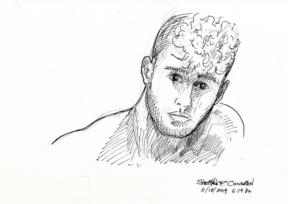 Hot beautiful boy #360Z pen & ink drawing by artist Stephen F. Condren, with LGBTQ gay prints.
