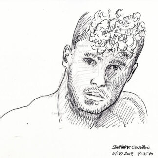 Hot beautiful boy #361a pen & ink drawing by artist Stephen F. Condren, with LGBTQ gay prints.