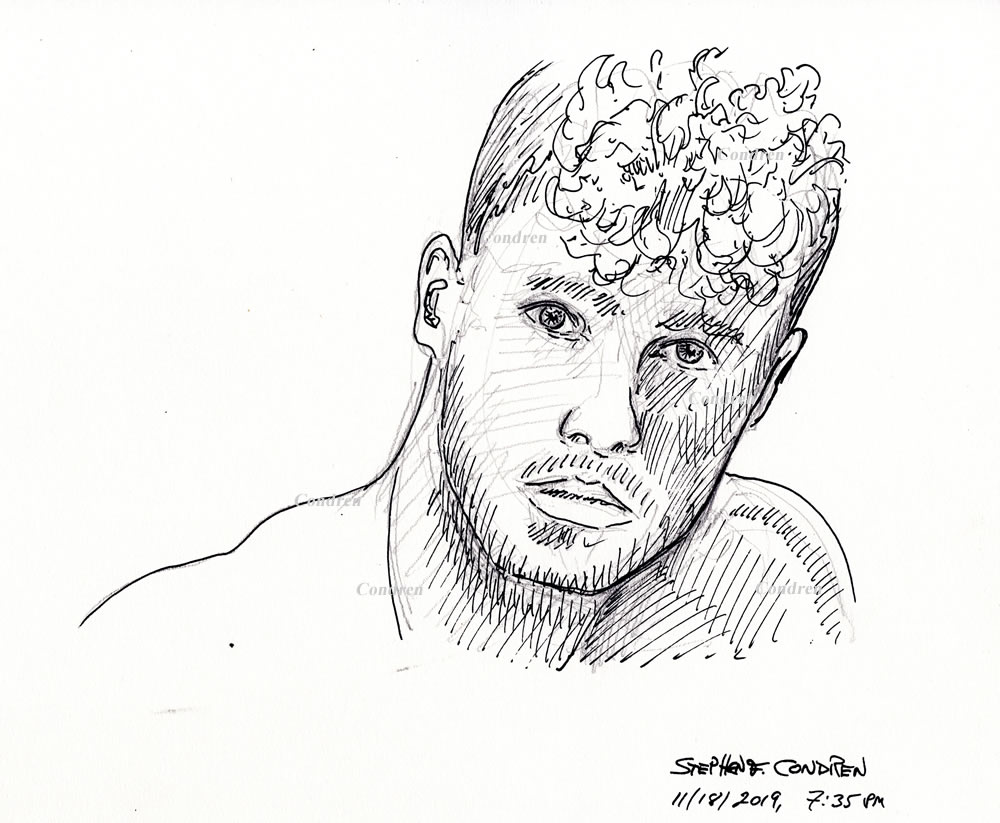 Hot beautiful boy #361Z pen & ink drawing by artist Stephen F. Condren, with LGBTQ gay prints.