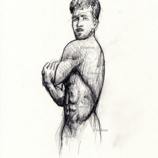 Male figure drawing #311A, or gay naked man stylus sketch, by artist Stephen F. Condren, of Condren Galleries, offering prints & scans.