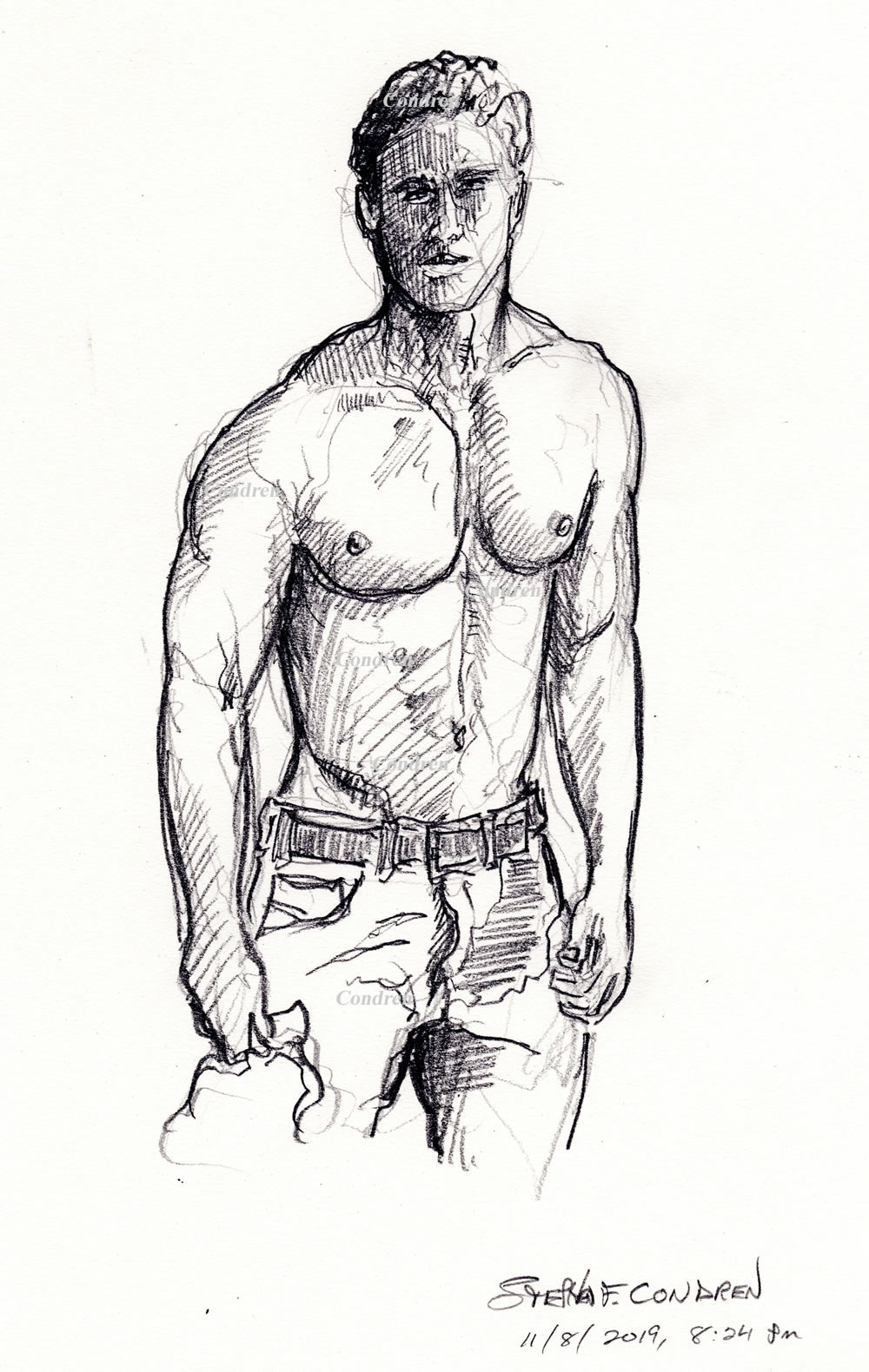 Shirtless gay cowboy #330Z or bare-chested LGBTQ herdsman, pencil figure drawing or stylus body sketch, by artist Stephen F. Condren, with prints, and scans.