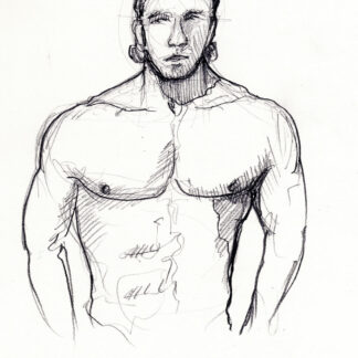 Hot shirtless male #336A pencil figure drawing by artist Stephen F. Condren, with LGBTQ gay prints.