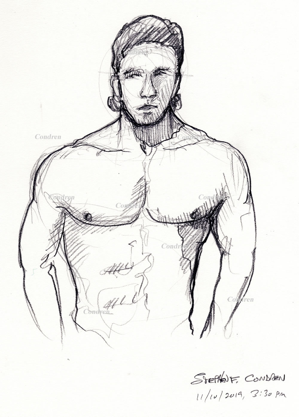 Pencil drawing of a shirtless male by artist Stephen F. Condren.