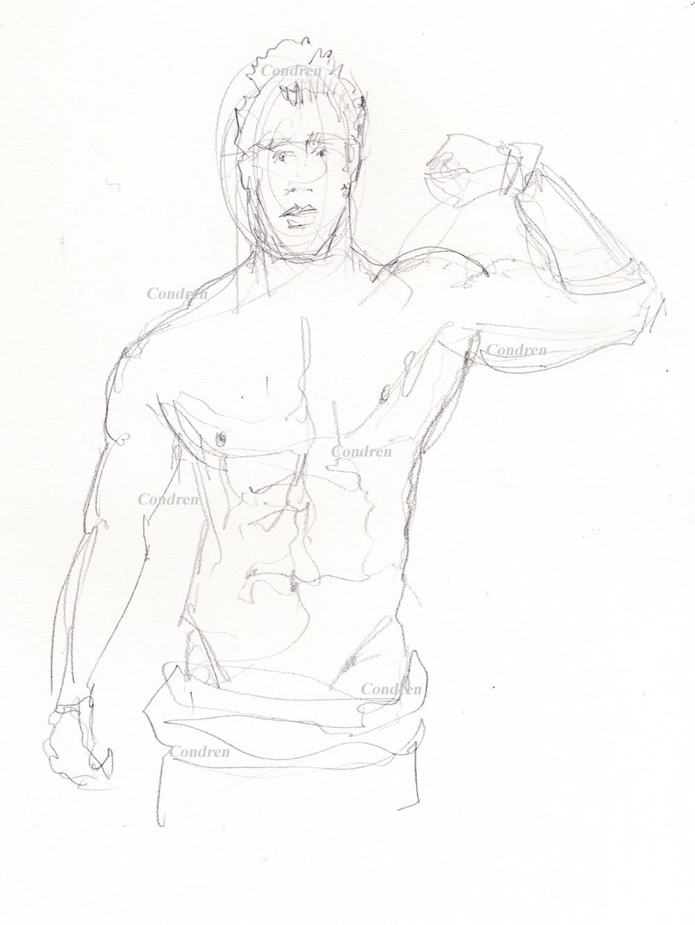 Hot shirtless male #338Z pencil figure drawing by artist Stephen F. Condren with LGBTQ honored gay prints, and scans.