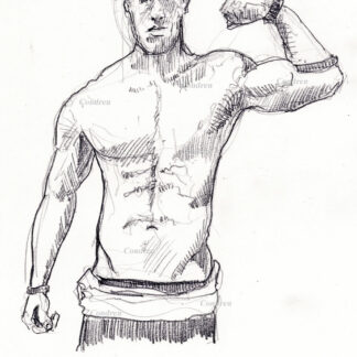 Hot shirtless male #337A pencil figure drawing by artist Stephen F. Condren, with LGBTQ gay prints.