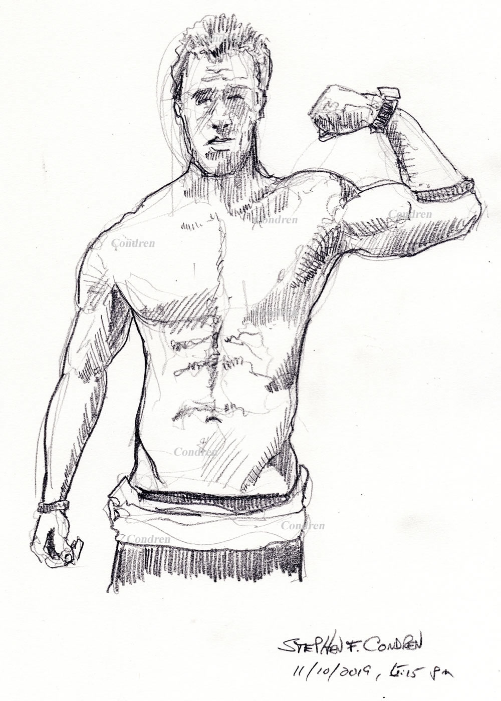 Pencil drawing of a shirtless male by artist Stephen F. Condren. #337Z