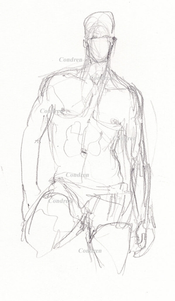 Pencil drawing of a gay shirtless man by artist Stephen F. Condren.