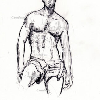 Hot shirtless male #339A pencil figure drawing by artist Stephen F. Condren, with LGBTQ gay prints.