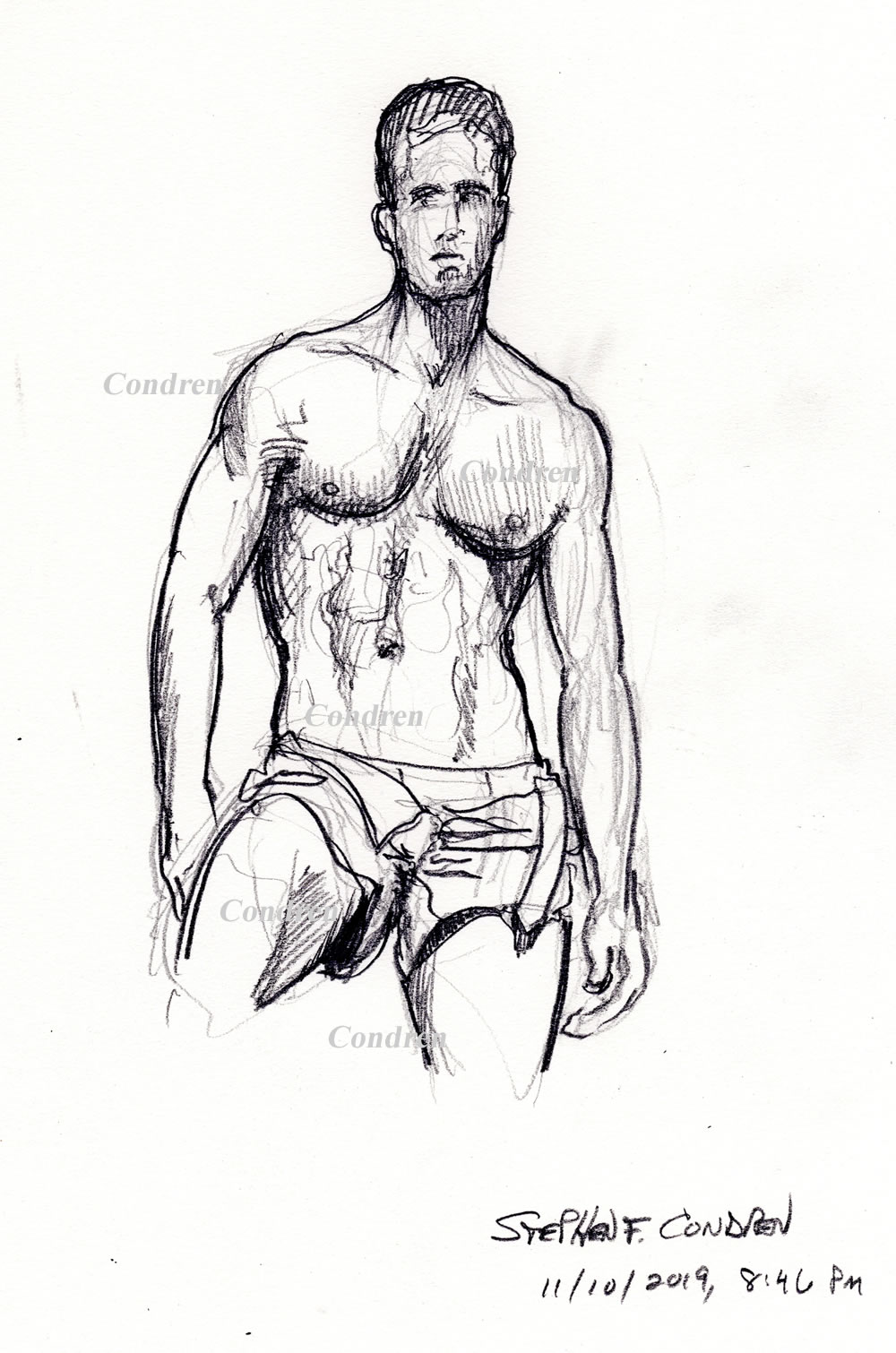 Gay shirtless male #339Z pencil figure drawing by artist Stephen F. Condren with LGBTQ prints, and scans.