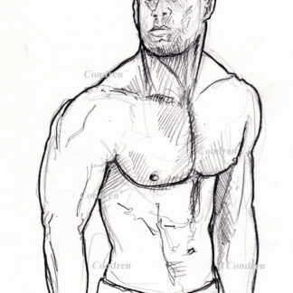 Hot shirtless male #340A pencil figure drawing by artist Stephen F. Condren, with LGBTQ gay prints.