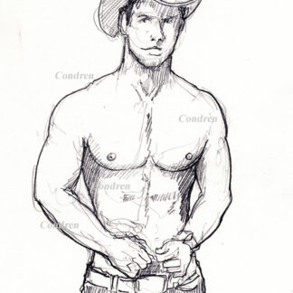 Hot shirtless cowboy #347a gay pencil figure drawing by artist Stephen F. Condren.