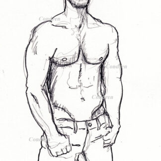 Hot shirtless male #349A pencil figure drawing by artist Stephen F. Condren, with LGBTQ endorsed gay prints.