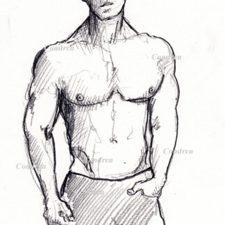 Abel Albonetti #350A pencil figure drawing by artist Stephen F. Condren, with LGBTQ endorsed gay prints.