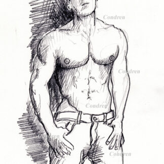 Abel Albonetti #351A fitness model pencil figure drawing by artist Stephen F. Condren, with LGBTQ endorsed gay prints, and scans.