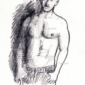 Hot shirtless male #352a pencil figure drawing by artist Stephen F. Condren, with LGBTQ endorsed gay prints.