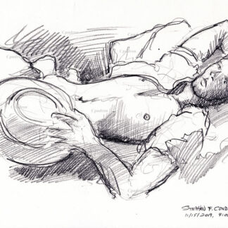 Hot shirtless cowboy #353a pencil figure drawing by artist Stephen F. Condren.