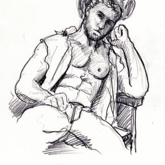 Hot shirtless cowboy #354a pencil figure drawing by artist Stephen F. Condren.