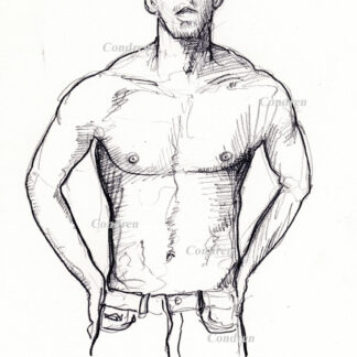 Michael Phelps #357A pencil figure drawing of his muscular body with chiseled torso with contour lines.