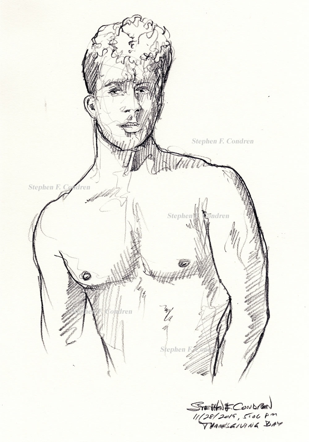 Dr. Andrew Neighbors #365Z shirtless figure drawing in pencil by artist Stephen F. Condren, with LGBTQ gay prints.