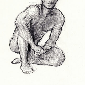 Male figure drawing #312A of nude man seated on his haunches with his hands covering his loins, and hatched lines.
