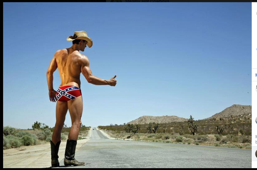 Photograph of a naked cowboy thumbing for a ride on the desert roadside.